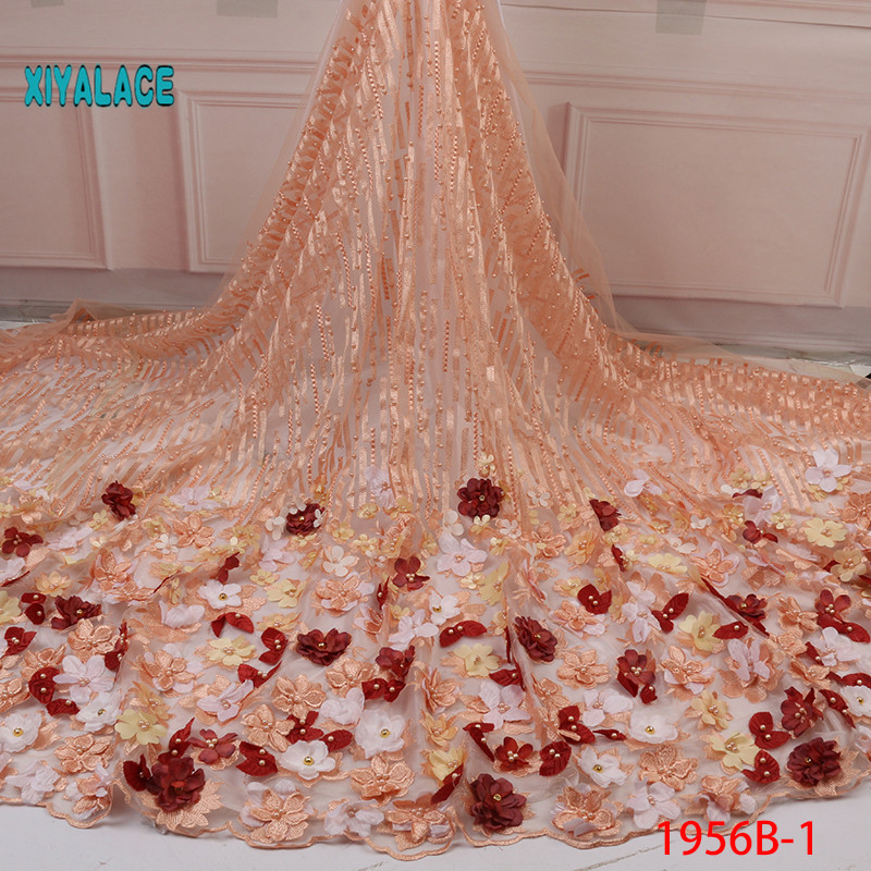 Nigerian Beaded Lace Fabric 2019 High Quality African 3D Net Lace Fabric Wedding French Tulle Lace Material For Dress YA1956B-1