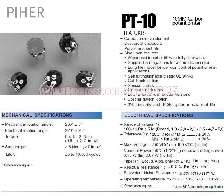 Piher Dustproof Dual Track Stereo Potentiometer 22K LOG