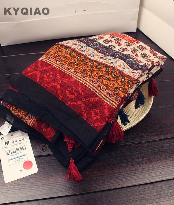 KYQIAO Bohemian design long red print   scarf   2019 women autumn winter boho hippie long printed   scarf   muffler cape shawl   wrap