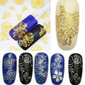 New 3D Silver Gold Nail Art Stickers Decals Stamping Stickers Nail Tips Decoration Tools