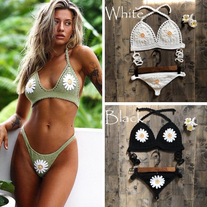 2019 New Fashion Beach Bikini Set Knitting Swimsuit Crochet Bohemia Style Off Shoulder Bathing Handmade Sexy Bikini