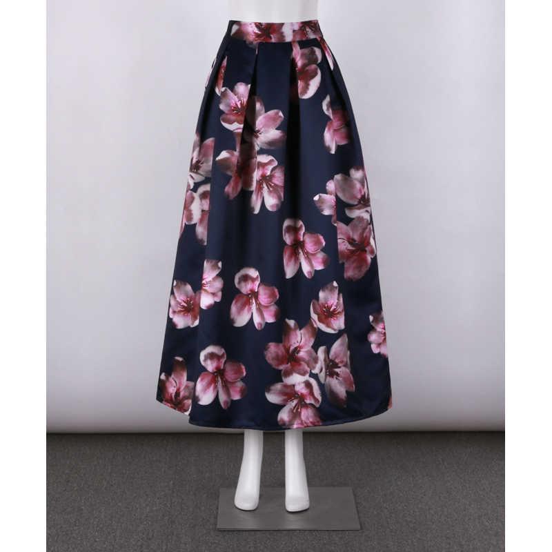 1609ca9d5daf ... Neophil Flower Floral Print High Waist 2019 Fashion Vintage Satin  Muslim Women Pleated 100cm Maxi Long ...