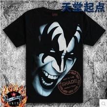 Men short sleeved T shirt personality heavy metal band KISS blue face funny tshirts 3d tee shirt Black rock Tshirt Free shipping