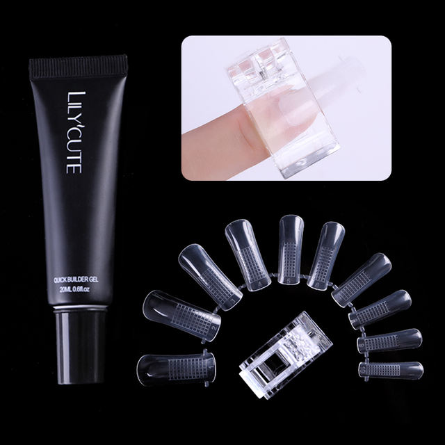 LILYCUTE 40 Pcs Natural False Nail Tips Reusable Quick Building Mold Nail Tips Clip Nail Art UV Builder Poly Extension Gel Tools