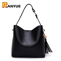 Luxury Brand Designer Tassel Bucket Bag Women PU Leather Handbags Messenger Crossbody Shoulder Bag Purse Bolsa