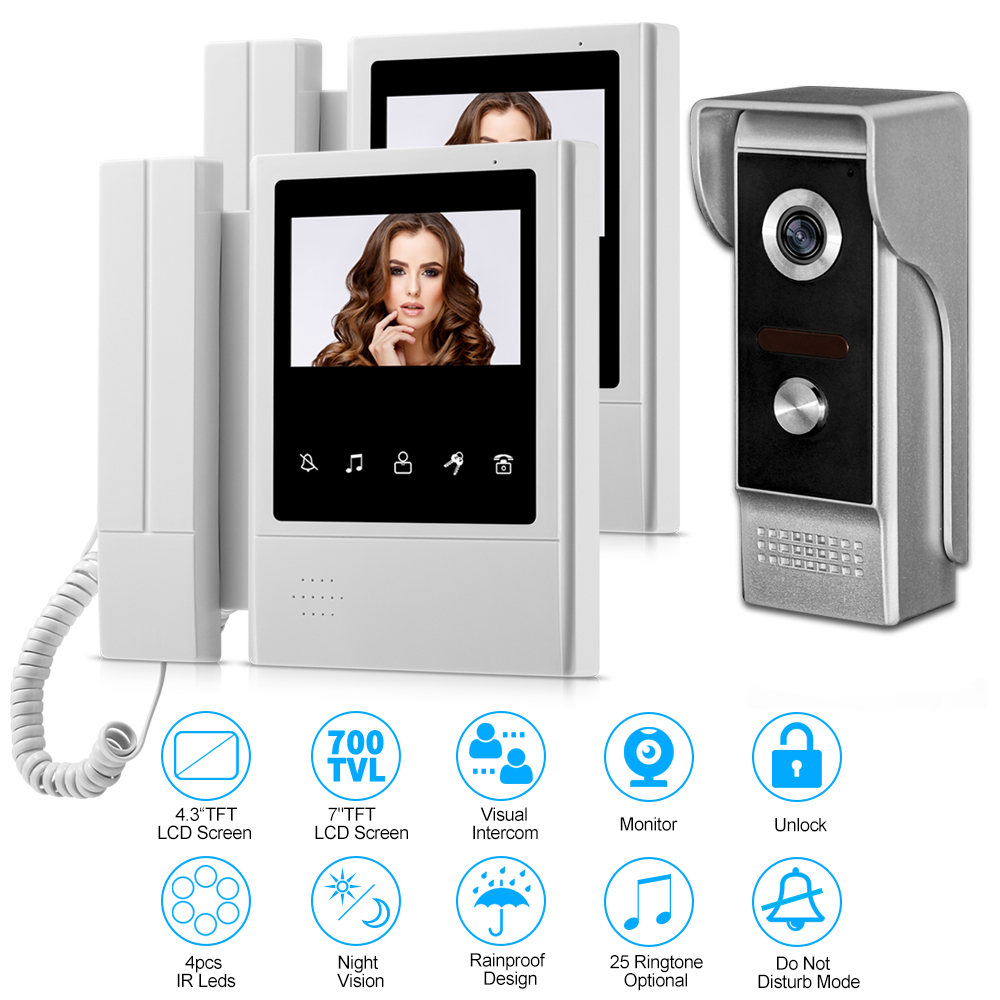 Home Wired Video Intercom Camera Doorbell 4.3'' TFT Color Video Door Phone With 2 Monitors Doorphone IR Night Vison 700TVL Lock