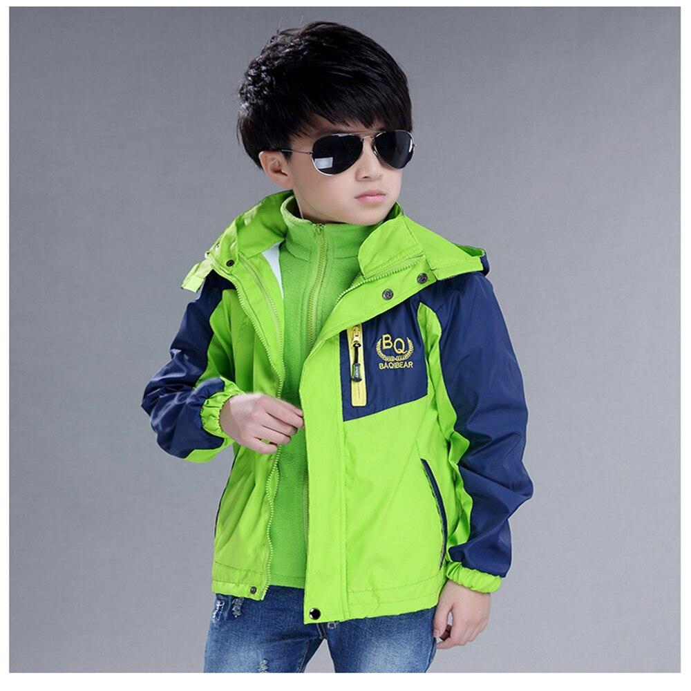 2017 Boy Outdoor Coat Kids Mountaineering Sport Outerwear Hooded Jacket+Detachable Liner Children 2Pcs Windproof Teenager Costum