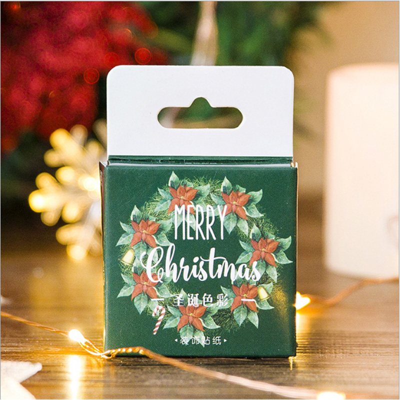 45 pcs/box Christmas colors mini paper stickers Diary decoration diy scrapbooking label seal Hand account sticker stationery
