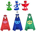 3 paquetes de PJ máscaras Inspirado Traje Del Cabo; Máscara + 3 unids 9 cm Juguete Set Mini Figura De Plástico de Vinilo muñeca