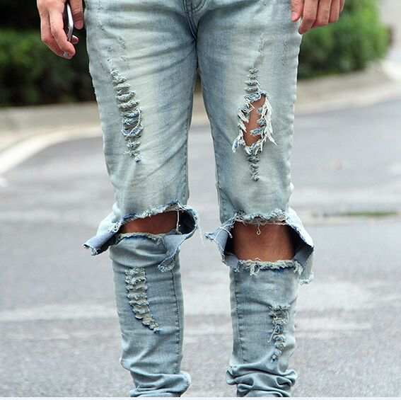US $30.68 7% OFF|Hip hop slp blauschwarz designer rock zerstört licht waschen dünne distressed jeans männer riss herren kleidung in Jeans aus