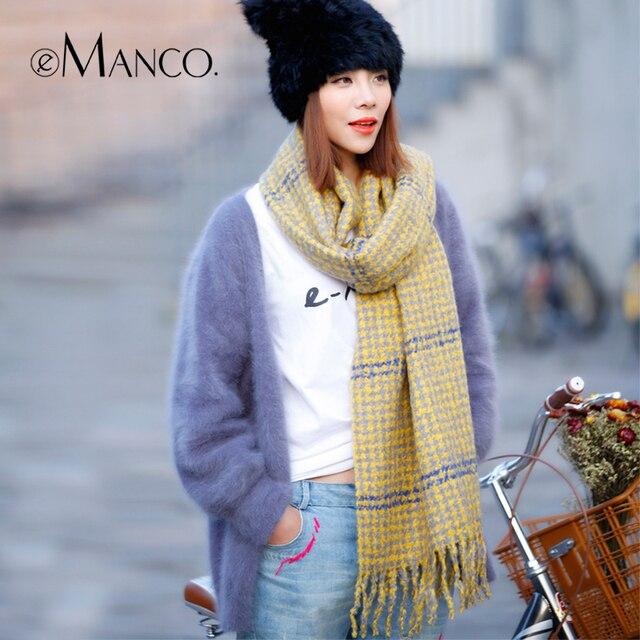 Houndstooth Tassel Wool Scarves for Women Soft Thicken Fringe Neckerchief Neck Warmer Autumn And Winter