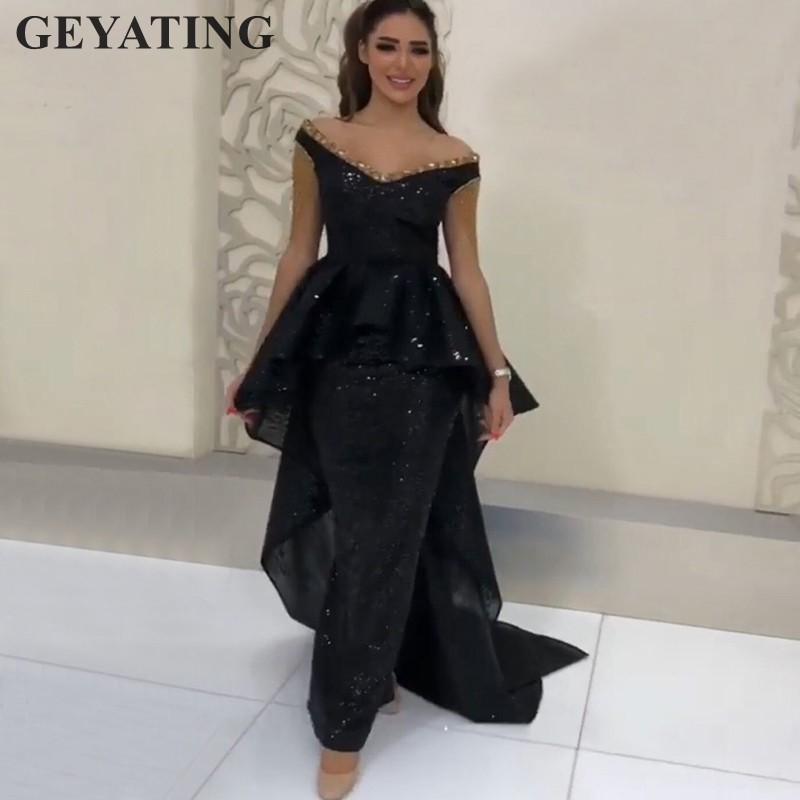 Glitter Sequin Black Off Shoulder Arabic   Evening     Dresses   with Peplum Crystal Dubai Formal Party Gowns Women Long Prom   Dress   2019