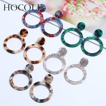цена на HOCOLE Vintage Hollowed Circle Leopard Earrings Multicolored Geometric Double Round Drop Dangle Earrings For Women Jewelry Gift