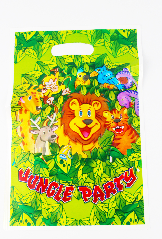 Free Shipping lion party theme printing plastic hand length handle bag,shopping gift bag*60pcs