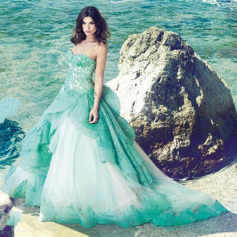 Popular green wedding dresses buy cheap green wedding for Blue green wedding dress
