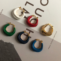 New rookie field multi color French brass small circle earrings