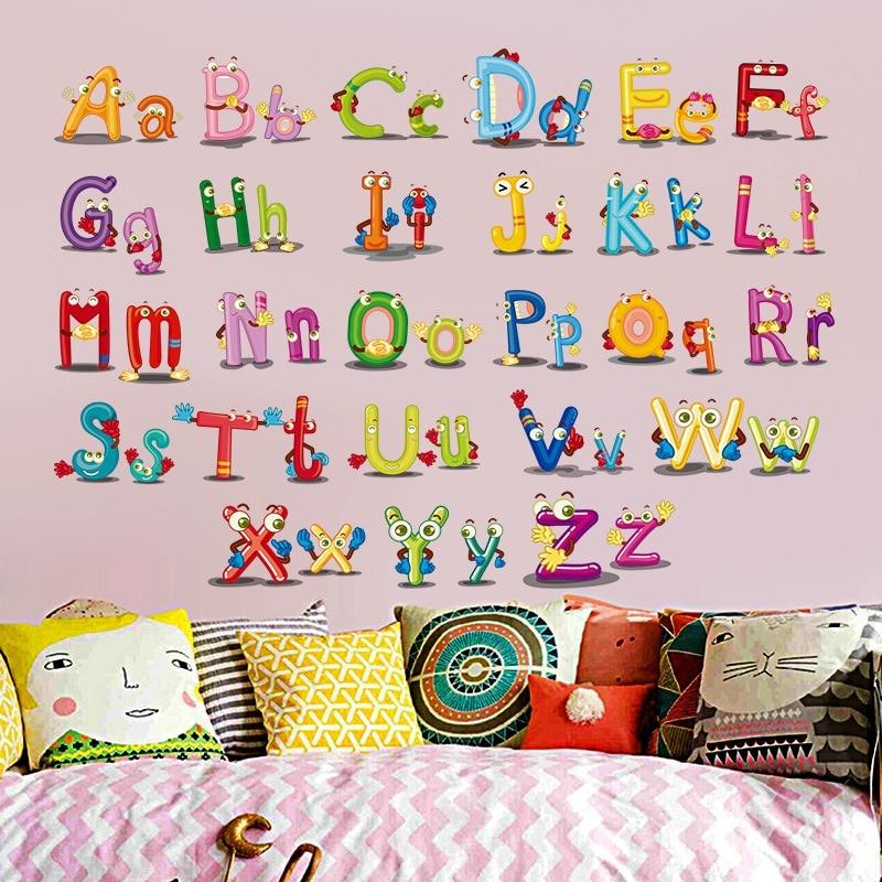 Bande Dessine Enfants Chambre Anglais Lettre Motif Stickers Muraux
