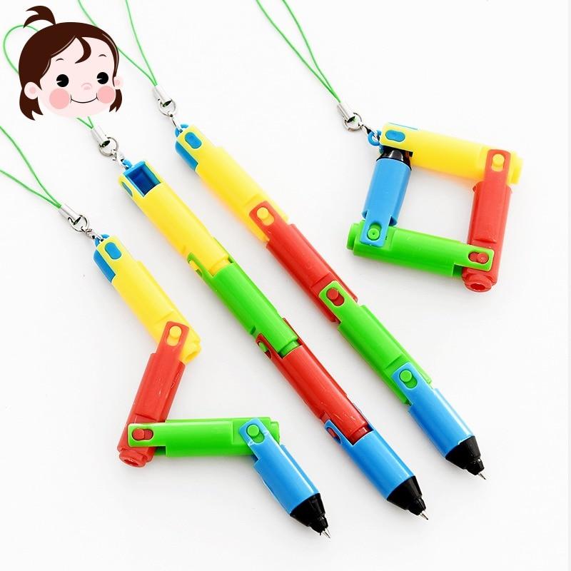 2PCS Creative Foldable Ballpoint Pen Cute Mobile Phone Pendant Curved Pen Student Supplies Prize Gift
