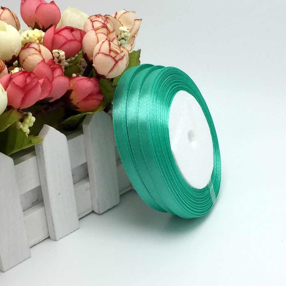 """15 Colors Solid Color 1 roll 25 yard 1/4""""(6mm) single face satin ribbon,25yards/roll option Color gift packing Wedding decor"""