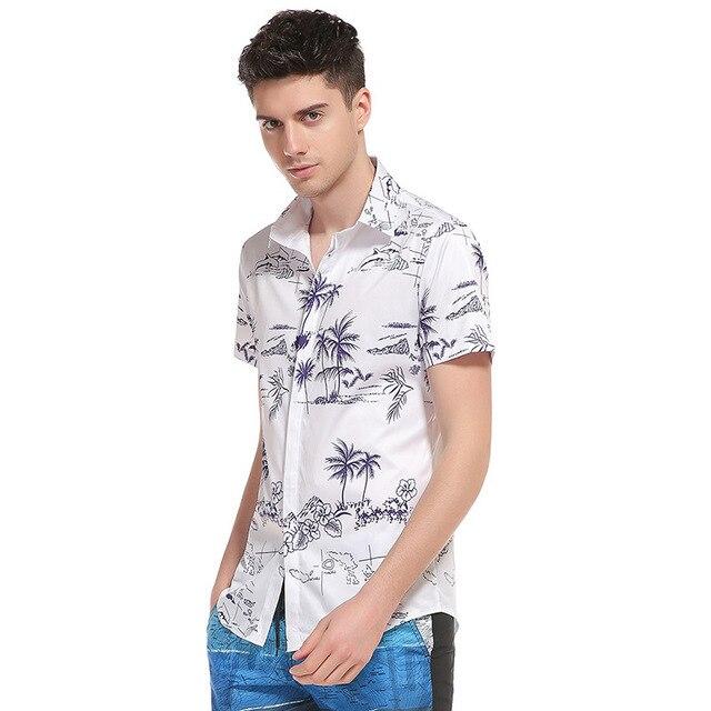 cb54bb7b5f Verão de Moda de Nova 3D Palmeira Paisagem Impressão dos homens-Camisa de manga  Curta