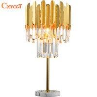 Роскошный дизайн хрустальные настольные светильники Современные настолные лампы AC110V 220 V Золото кристальная прикраватная лампа