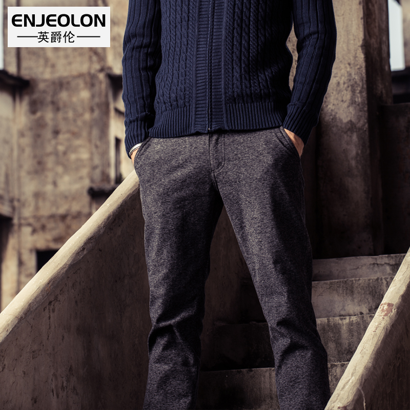 Enjeolon brand 2017 quality long trousers Straight casual pants man cotton fabric clothing Slim Causal Pants free ship K5012