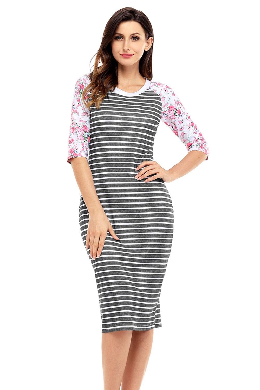 White shirt dress women stripes Half Sleeves Hobo Midi ...