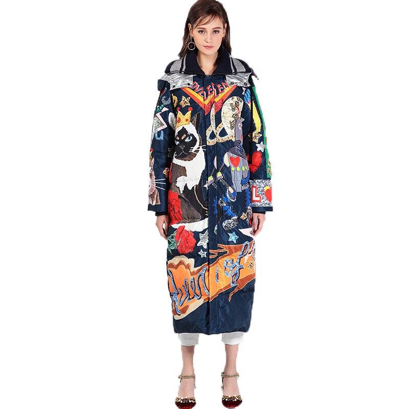 Vintage 2018 Nouvelle Mode Impression de Dessin Animé Veste D'hiver Femmes Parka Piste À Capuche Épais Manteau D'hiver Duvet de Canard Blanc Vestes A701