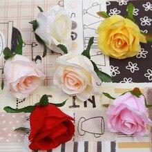 10 шт., искусственный цветок, 6 цветов, диаметр 9 см, розовая голова, высокое моделирование, роза, свадебное украшение, для дома, ручная работа, цветок на стену, сделай сам