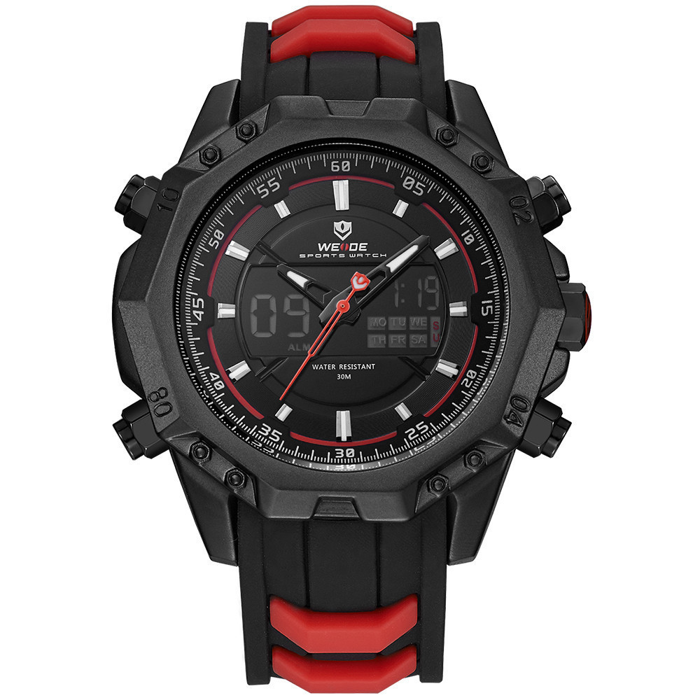 WEIDE Silicone Men Watches Sport Wristwatch Military Backligh Relogio Militar Time Hour Clock Casual Quartz Watch Men Black Saat weide new men quartz casual watch army military sports watch waterproof back light men watches alarm clock multiple time zone