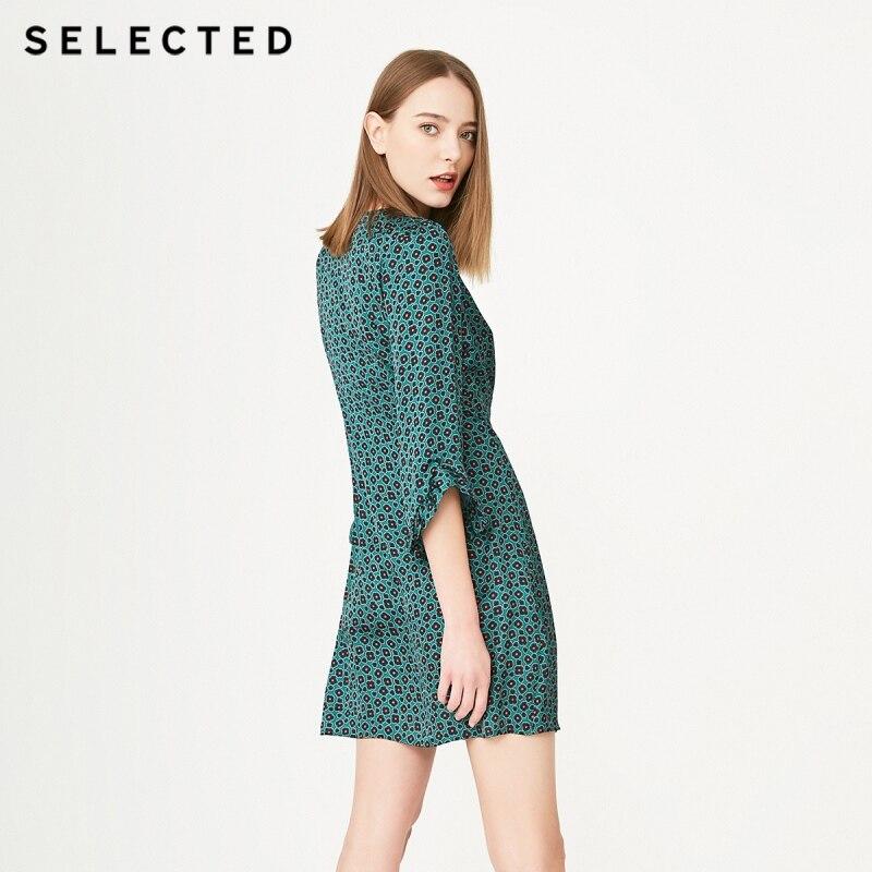 เลือก V คอพิมพ์ Buckled Laced แขน S  41922J502-ใน ชุดเดรส จาก เสื้อผ้าสตรี บน   3