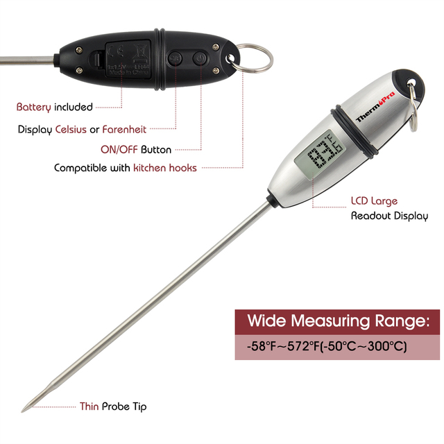 Original ThermoPro TP-02S Instant-Read Digital Cooking Thermometer with Stainless Steel Probe for food, Meat, Grill, BBQ