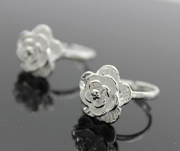 Hot Promotion Fashion Silver Color Ring Big 3D Rose Flower Open Ring For Women Girl 925 Sterling Cheap wholesale Plant  jewelry