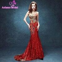2017 New arrival Red Thêu Flowers Sequined evening dresses Vestido de Festa mermaid bling dài gown O-Neck Keyhole dress