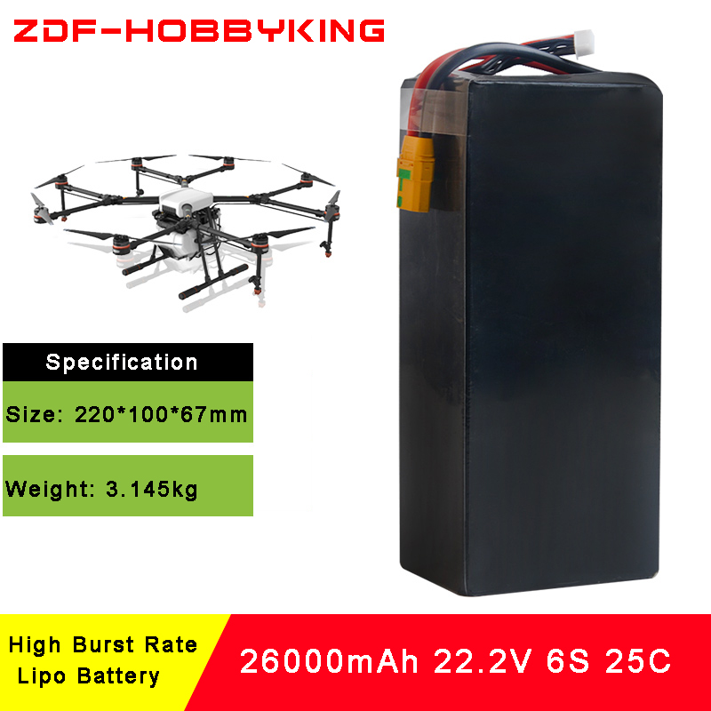 Lipo Battery 22.2V 26000mAh Lipo 6s 25C Battery AS150 Plug Batteries for Quadcopter UAV Drones RC Helicopter Drone zdf lipo battery 22 2v 26000mah 6s 25c lipo battery as150 plug batteries for quadcopter uav rc helicopter drone
