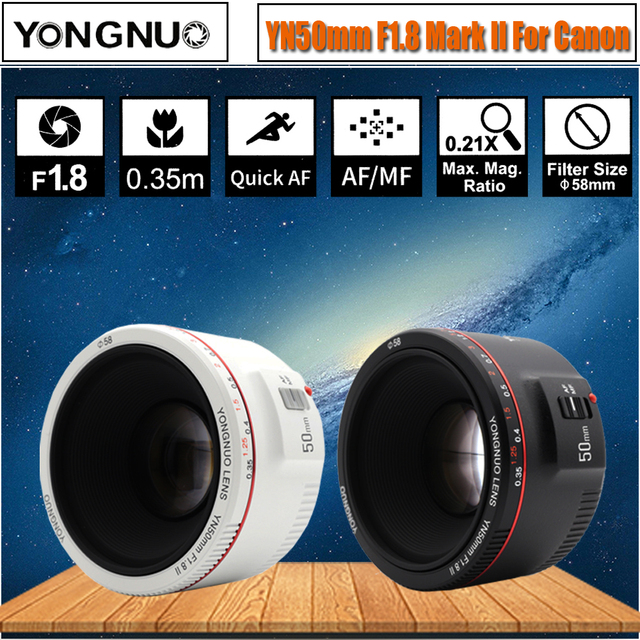 5eba345f8 Branco YN50mm F1.8 II Grande Abertura YONGNUO para Canon Bokeh Efeito de  Lente de