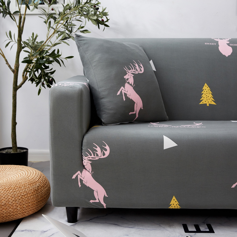 Image 4 - Parkshin Fashion Deer Gray Slipcovers Sofa Cover All inclusive Sectional Elastic Full Couch Cover Sofa Towel 1/2/3/4 Seater-in Sofa Cover from Home & Garden