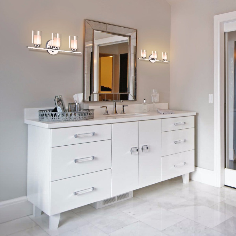 Giantex 3 Light Light Wall Mounted Brushed Chrome Finish Glass Shade Bathroom Wall Sconce Modern furniture EP23367