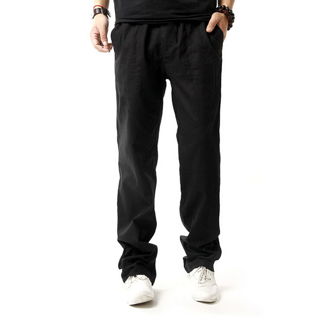 New 2017 Sweatpants Men Cotton Linen Casual Pants Men Thin Breathable Joggers Sweatpants pantalon homme Plus Size M-XXXXL