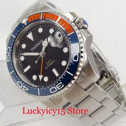 PARNIS Top marka funkcja GMT automatyczne zegarek męski Sapphire szklana ceramiczna ramka 40mm zegarek w Zegarki mechaniczne od Zegarki na
