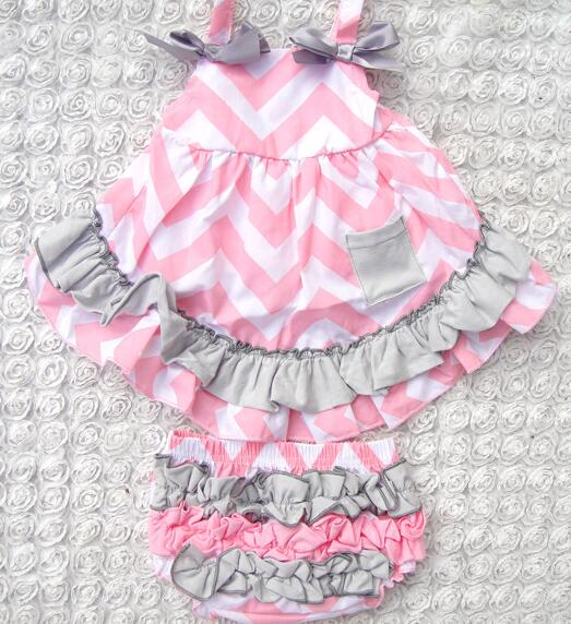 d00c617b7 Light Pink Ripple Baby Romper Outfit Baby Girl Swing Set with grey ...