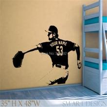 Jugador de béisbol Wall art Decal sticker Elegir número Nombre personalizado de decoración del hogar Pegatinas de Pared Para Niños Habitación Vinilos Paredes