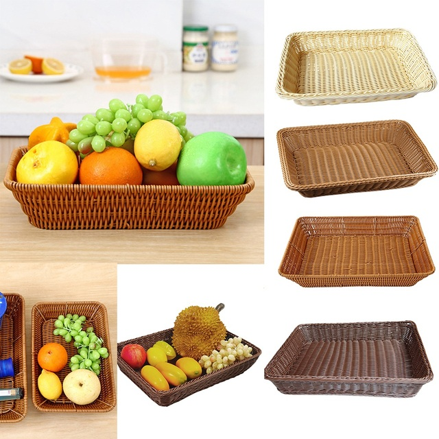 Fruit Basket For Kitchen Memory Foam Mats S M L Snacks Nuts Rattan Storage Organization Dried