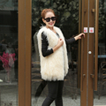 Besty new fashion natural spring winter real sheep sheering vest coat whole skin fur overcoat women slim sleeveless fur jacket