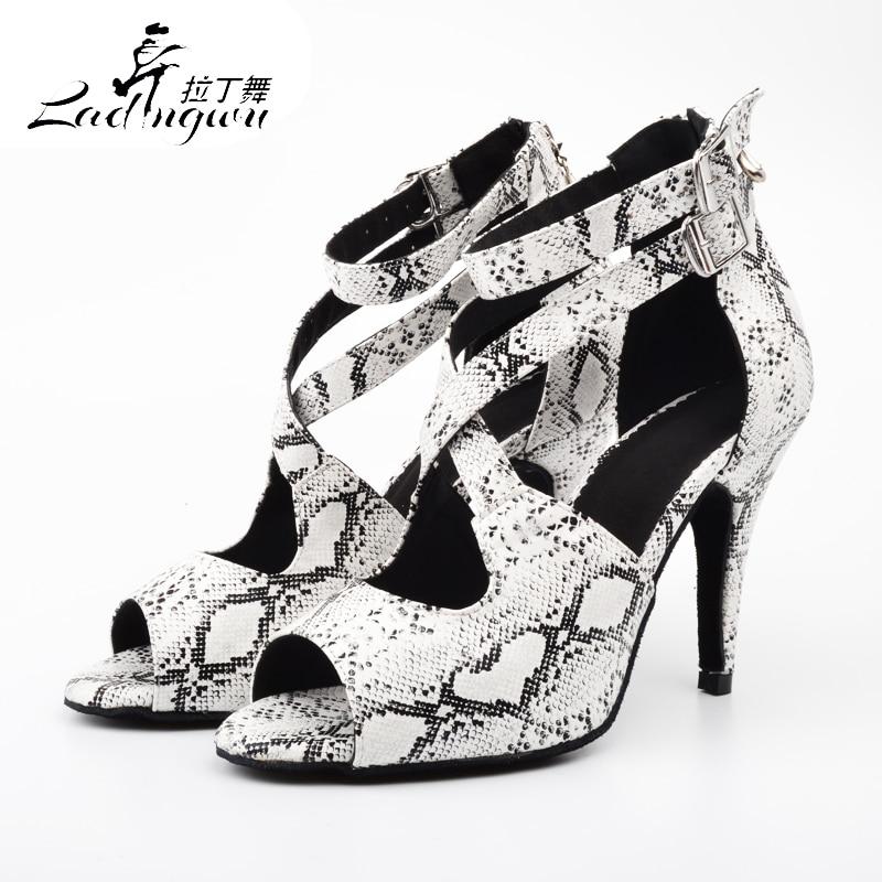 Ladingwu Dancing-Shoes Salsa Latin Snake-Texture Women White New PU For Sapato Feminino