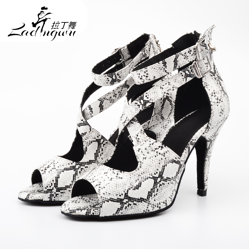Ladingwu New White Snake Texture PU Dancing Shoes For Women Latin Dance Shoes Women's Salsa Sapato Feminino Salto Alto