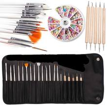 1 Set 5pcs Dotting Tools+ 15pcs Nail Art Brush with Bag + 1 Pack Mix Shape Rhinestone Decor Nail Stickers Art Set HB88