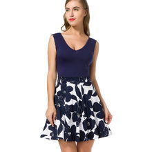 8100f7e0a89 European Dress Cross Border Amazon Sexy V Lead Seven Part Sleeve Pure Cotton  Printing Summer Dresses