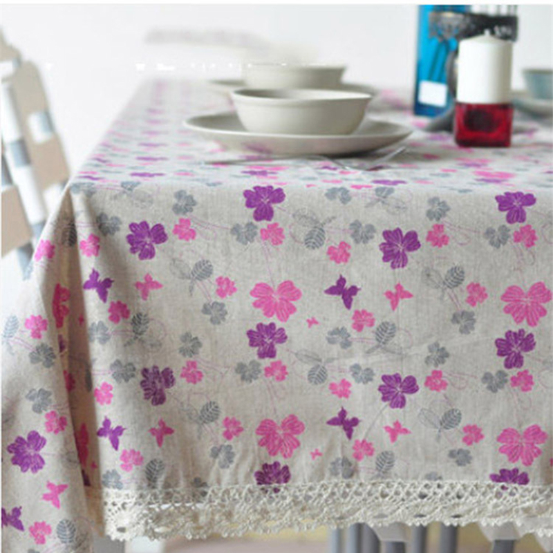 Vintage Lace Linen Cotton Woven Table Cloth Rectangular Flowers Table Cover  TableCloths Home Decor Tafelkleed Tovaglia