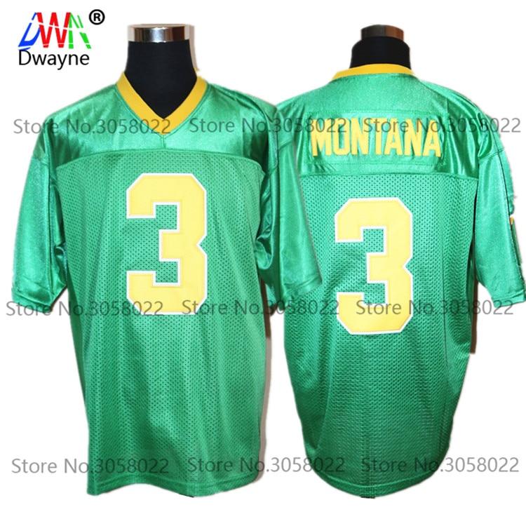 Дешевые Майки для американского футбола зеленый Джо Монтана 3 Колледж возврат Майки Ретро прошитой рубашки ...